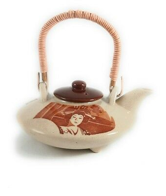 Vintage Brown Japanese Ceramic Teapot with Beautiful Woman and Male Warrior