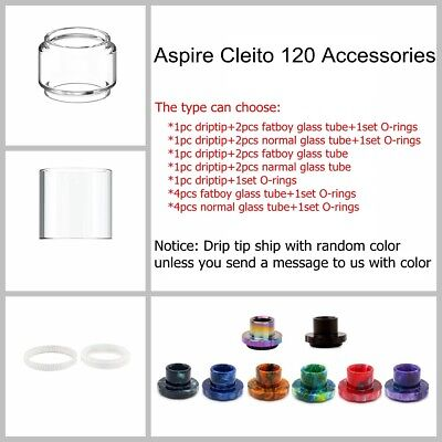 Aspire0 Cleito 120 Drip Tip Bubble Glass Tube Seal Gasket O ring Mouthpiece Tank