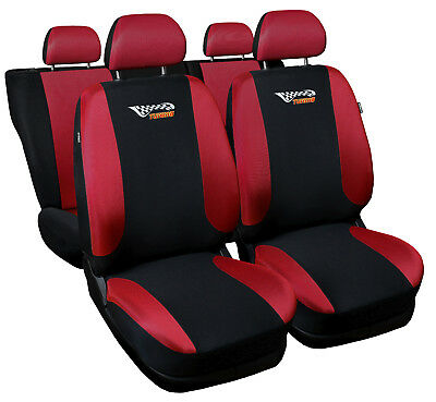 CAR SEAT COVERS fit Ford Focus Mk1 red/black sport style full set