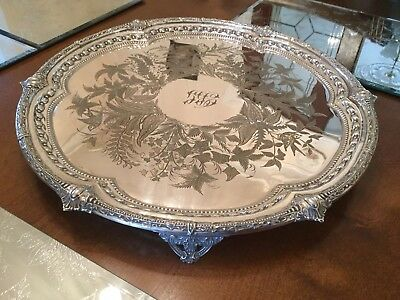 Superb Victorian Albert Beardshaw Silver Plated Chased Footed Drinks Tray