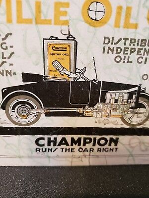 Antique 1920s Champion  Gas And Oil can ,Ink Blotter Evansville,Ind.