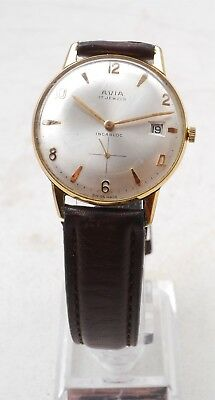 Vintage RARE AVIA 17 Jewel Incabloc Watch W/Date Swiss Made Unisex Hand-Winding