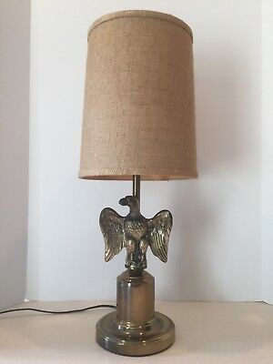 Vintage Brass American Eagle Patriotic Federal Style Table Lamp 25 Very Nice