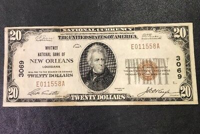 1929 $20 Whitney National Bank of New Orleans National Currency Charter #3069