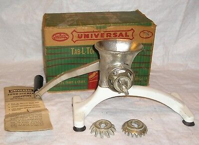 Vintage Manual Hand Crank Universal Leader Food Chopper - Very Good Condition