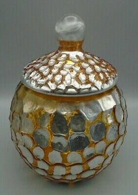 Diamond Star Corp Crystal Tortoise Pattern Gold & Silver Candy Dish Jar with Lid