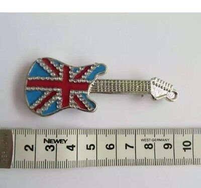 Enamel Guitar Pin Badge Union Jack brit pop Job lot 12 piece pack HALF PRICE