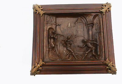 Renaissance Panel, Cast Iron & Walnut, Antique Art
