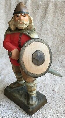 "Vintage Henning Norway Handcarved Wood 8"" Viking with sword and shield"