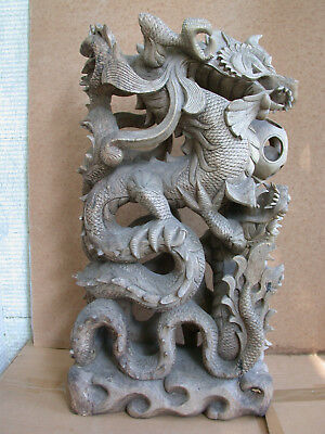 Old thai thailand wooden dragon carving long makara mangkon long Drache agarwood