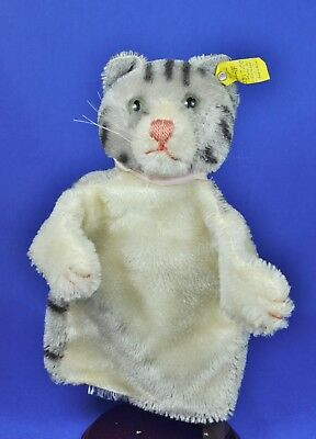 Steiff Hand Puppe / Puppet Katze / Cat, 0317,00, KF / button + flag, 1953-67