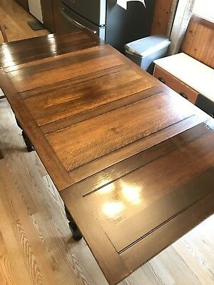 Antique English Draw Leaf Table and Four Chairs