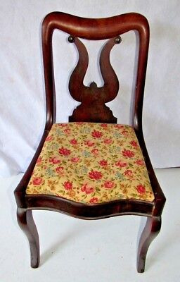 Circa 1820 Empire Lyre Back Side Chair with Upholstered  Seat