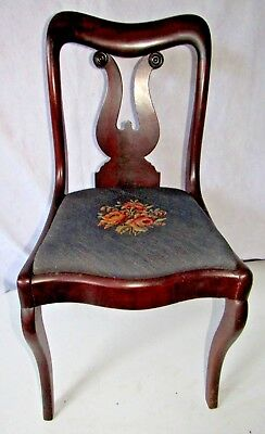 Circa 1820 Empire Lyre Back Side Chair with Petit Point Seat