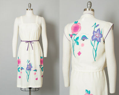 Vintage 1970s Dress Set 70s 80s Avant-Garde Novelty Print Cream Sundress Bolero
