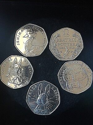 Jemima Puddleduck, Squirrel Nutkin, Peter Rabbit, Mrs Tiggywinkle, Beatrix 50p