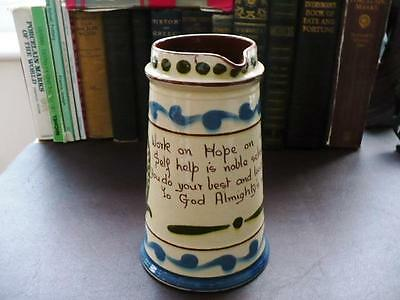 Early 20th c Aller Vale Pottery Large Motto Ware Jug