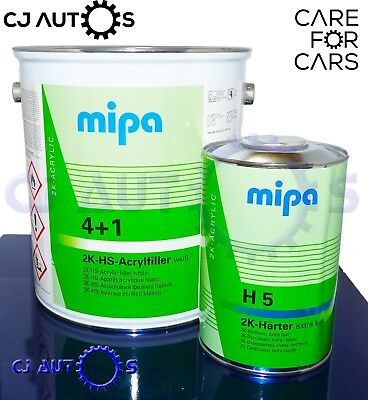 MIPA 4+1 5L Litre Kit 2K HS Acryl Filler White High Quality Build Primer Car Van