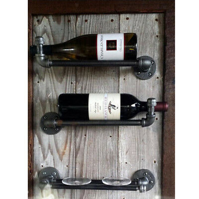 Industrial Bar Liquor Wine Rack Bottle Wall Table Holder Rustic Iron 12inch