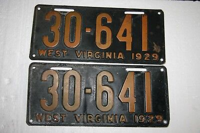 Vintage Set of 1929 West Virginia License Plates