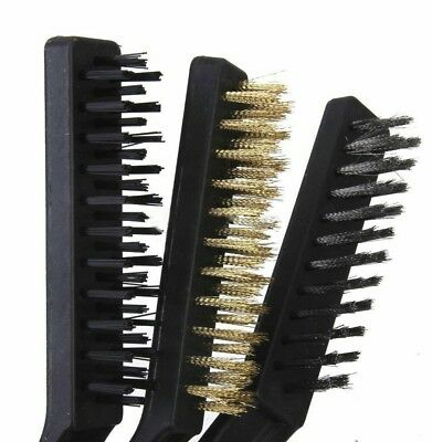 """3Pc Wire Brush Set Nylon Brass Steel Brushes Cleaning Home Kitchen Large 9"""""""