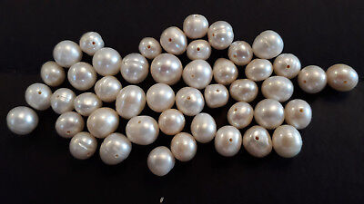 """15"""" White Freshwater Pearl Beads-46 beads 28g 6mm to 10mm (A)"""