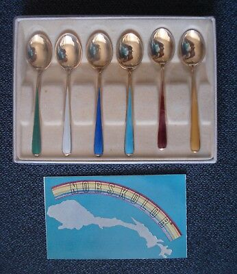 Norwegian Silver N M Thune Set of 6 Demitasse Spoons 925 Sterling Enamel Boxed