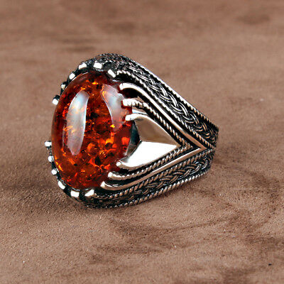 Handmade 925 SILVER Turkish ring Amber stone for Men all sizes jewelry RRP£30
