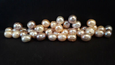 """15"""" Freshwater Pearl Beads-Pinks & Purples-8mm to 10mm-27-28g-43 Beads (B)"""