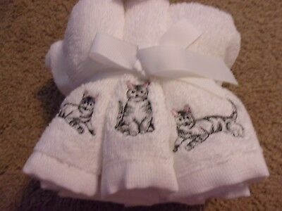 Tabby Cat Embroidered Hand/face/washcloth Towels 6 Pc Set 100% Cotton