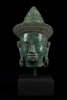 19th Century Antique Khmer Style Bronze Bayon Buddha Head Statue - 32cm/13""