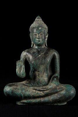 Antique 19th Century Khmer Bronze Protection Seated Buddha Statue - 31cm/12""