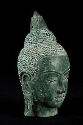 19th Century Antique Khmer Bronze Buddha Head Statue - 25cm/10""