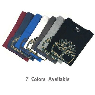 Timberland Men's Short Sleeve Camouflaged Tree Logo Cotton T-shirt A1N4A