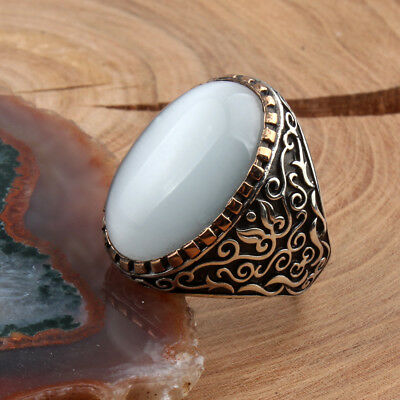 Handmade 925 SILVER Turkish ring White Amber stone Men sizes jewelry RRP £40