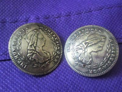 pair of antique buttons Maria Theresa Austria Hungary 800 coin silver lot of 2