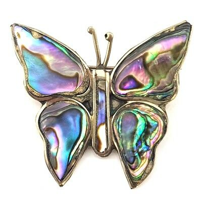 Vintage Jewellery Beautiful Mexican Abalone Shell Butterfly Brooch