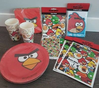 Angry Birds Party Set for 12 (Plates,Cups,Napkins,Tablecloth,Loot Bags,Invites)