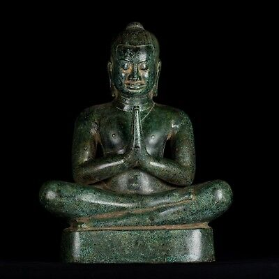 Antique Khmer Style Bronze Meditation Jayavarman VII Statue - 40cm/16""