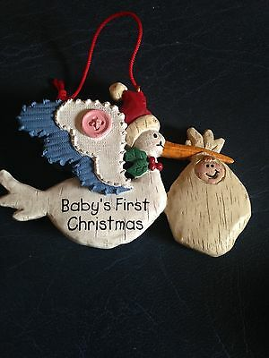 Baby's First Christmas Ornament - Stork with Baby, Non-dated