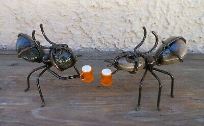 2 Rock Ants Drinking Beers  Man Cave  Office or Garden Patio Decor