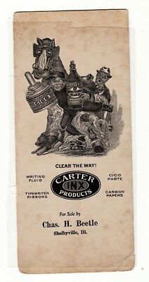 Carter Inx Products Advertising Ink Blotter Charles Beetle Shelbyville Illinois
