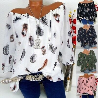 S-5XL Women Tops Long Sleeve Feather Print Lace Up Off Shoulder Blouse Shirt New
