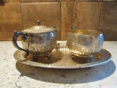 Vintage Silver on Copper Creamer and Sugar Bowl Set with Tray