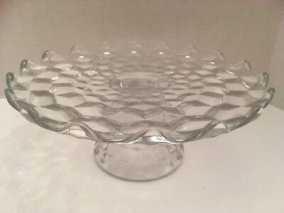 Hard To Find ~ Vintage Clear Fostoria American Pedestal Cake Plate Stand