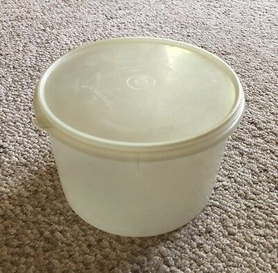 Used Tupperware Sheer Canister #267-3 Large Round Container With Lid