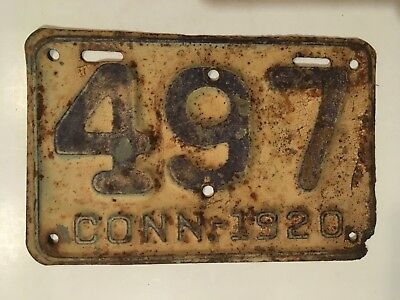 1920 Connecticut Motorcycle License Plate Low Number 3-Digit YOM Harley Indian