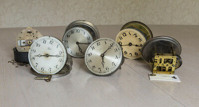 Six vintage 1 day clock movements, spares or repair