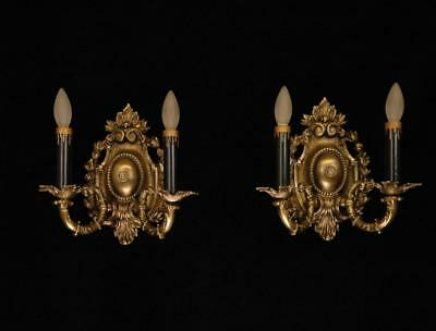 Pair Antique Victorian Circa 1910 Early Electric Cast Brass Wall Sconce
