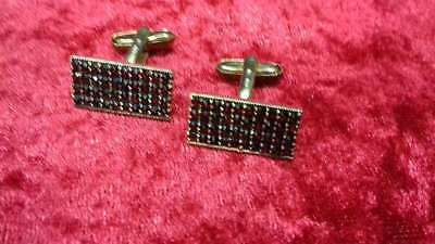 Old cufflinks 900 silver, garnet stones!// Art. 210